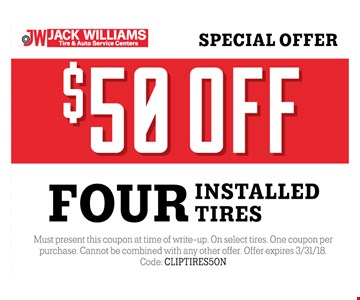 $50 off four tires installed