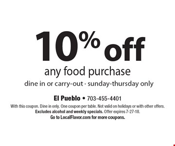 10% off any food purchase. Dine in or carry-out - sunday-thursday only. With this coupon. Dine in only. One coupon per table. Not valid on holidays or with other offers. Excludes alcohol and weekly specials. Offer expires 7-27-18. Go to LocalFlavor.com for more coupons.