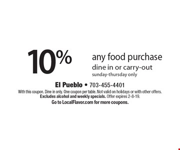 10% off any food purchase dine in or carry-out sunday-thursday only. With this coupon. Dine in only. One coupon per table. Not valid on holidays or with other offers. Excludes alcohol and weekly specials. Offer expires 2-8-19. Go to LocalFlavor.com for more coupons.