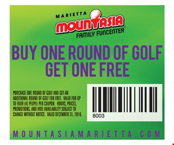 Buy one round of golf, get one free. PURCHASE ONE ROUND OF GOLF AND GET AN ADDITIONAL ROUND OF GOLF FOR FREE. VALID FOR UP TO FOUR (4) PEOPLE PER COUPON. HOURS, PRICES, PROMOTIONS, AND RIDE AVAILABILITY SUBJECT TO CHANGE WITHOUT NOTICE. VALID DECEMBER 31, 2018.