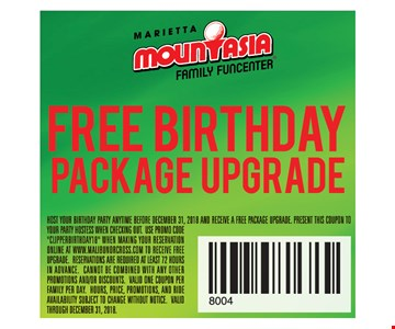 Free birthday package upgrade. HOST YOUR BIRTHDAY PARTY ANYTIME BEFORE DECEMBER 31, 2018 AND RECEIVE A FREE PACKAGE UPGRADE. PRESENT THIS COUPON TO YOUR PARTY HOSTESS WHEN CHECKING OUT. USE PROMO CODE