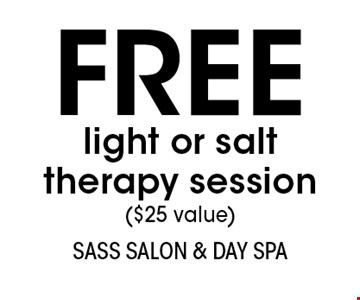 FREE light or salt therapy session ($25 value). With this coupon. Not valid with other offers or prior services. Expires 3-9-18.Go to LocalFlavor.com for more coupons.