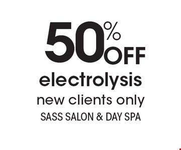 50% OFF electrolysis. New clients only. With this coupon. Not valid with other offers or prior services. Expires 3-9-18. Go to LocalFlavor.com for more coupons.