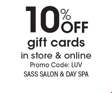 10% OFF gift cards in store & online. Promo Code: LUV. With this coupon. Not valid with other offers or prior services. Expires 3-9-18. Go to LocalFlavor.com for more coupons.