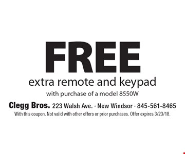 Free extra remote and keypad with purchase of a model 8550W. With this coupon. Not valid with other offers or prior purchases. Offer expires 3/23/18.