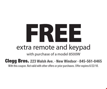 Free extra remote and keypad with purchase of a model 8500W. With this coupon. Not valid with other offers or prior purchases. Offer expires 6/22/18.