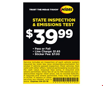 State inspection & emissions test for $39.99