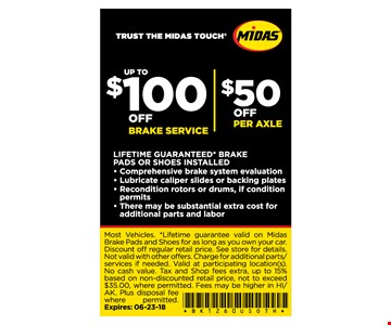 Up to $100 Off brake service