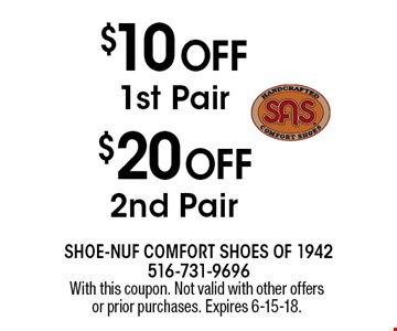 $20 OFF 2nd Pair OR $10 OFF 1st Pair. With this coupon. Not valid with other offers or prior purchases. Expires 6-15-18.