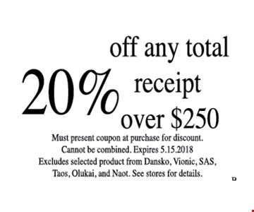 20% off any total receipt over $250