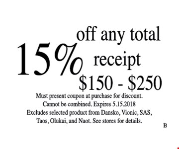 15% off any total receipt $150 - $250