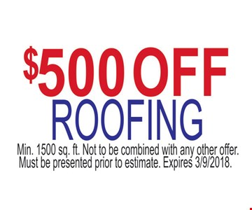$500 off roofing.