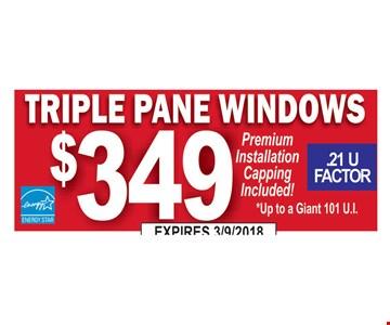 Triple pane windows installed for $349.