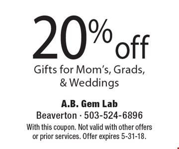 20% off Gifts for Mom's, Grads, & Weddings. With this coupon. Not valid with other offers or prior services. Offer expires 5-31-18.