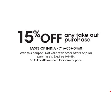 15%OFF any take outpurchase. With this coupon. Not valid with other offers or prior purchases. Expires 6-1-18.Go to LocalFlavor.com for more coupons.