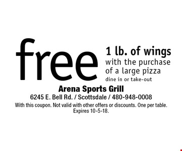 Free 1 lb. of wings with the purchase of a large pizza, dine in or take-out. With this coupon. Not valid with other offers or discounts. One per table. Expires 10-5-18.