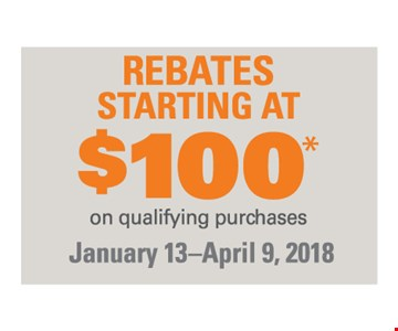 rebates starting at $100