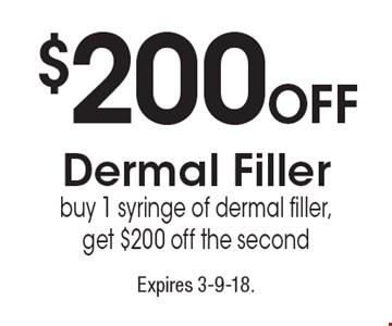 $200 Off Dermal Filler. Buy 1 syringe of dermal filler, get $200 off the second. Expires 3-9-18.