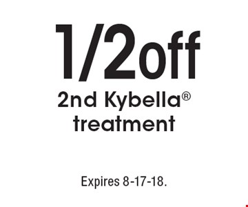 1/2 off 2nd Kybella treatment. Expires 8-17-18.