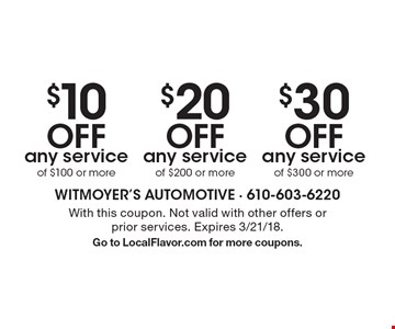 $30 off any service of $300 or more. $20 off any service of $200 or more. $10 off any service of $100 or more. With this coupon. Not valid with other offers or prior services. Expires 3/21/18. Go to LocalFlavor.com for more coupons.