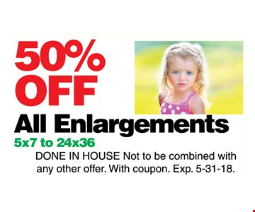 50% off all enlargements