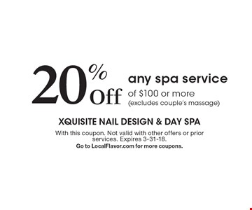 20% Off any spa service of $100 or more (excludes couple's massage). With this coupon. Not valid with other offers or prior services. Expires 3-31-18.Go to LocalFlavor.com for more coupons.