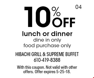 10% off lunch or dinner, dine in only, food purchase only. With this coupon. Not valid with other offers. Offer expires 5-25-18.