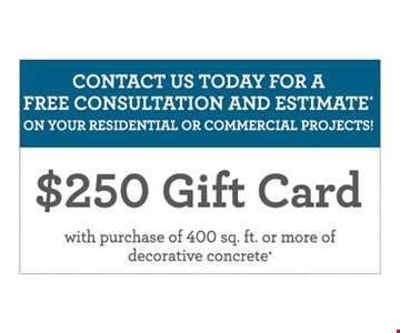 Contact us today for a free consultation and estimate on your residential or commercial projects! $250 gift card with purchase of 400 sq. ft. or more of decorative concrete*. *At participating franchises only. Some restrictions may apply. Not valid with any other offers, discounts or coupons. Ask for details. ©2017 American Decorative Coatings, LLC. All rights reserved. Concrete Craft is a trademark of American Decorative Coatings, LLC and a Home Franchise Concepts brand. Each franchise is independently owned and operated. Franchise opportunities available.
