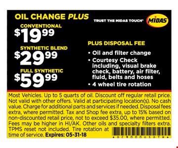 Oil change specials $19.99, $29.99, $59.99