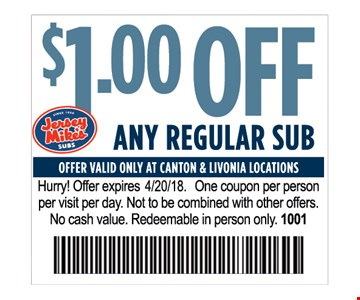 $1 off any regular sub
