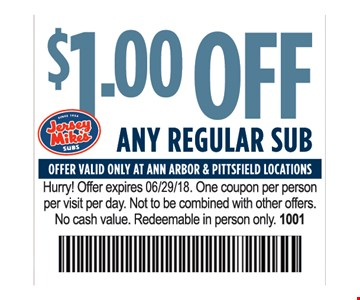 $1 off any regular sub.