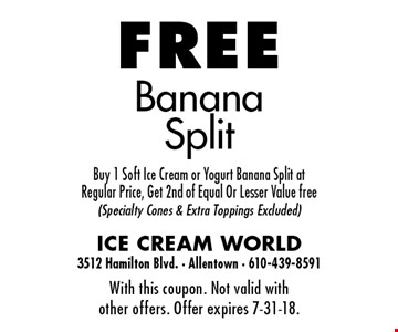Free Banana Split. Buy 1 Soft Ice Cream or Yogurt Banana Split at 