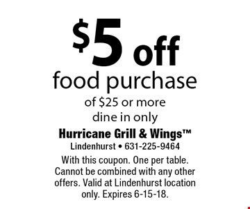 $5 off food purchase of $25 or more dine in only. With this coupon. One per table. Cannot be combined with any other offers. Valid at Lindenhurst location only. Expires 6-15-18.