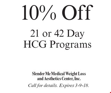 10% Off 21 or 42 Day HCG Programs. Call for details. Expires 3-9-18.
