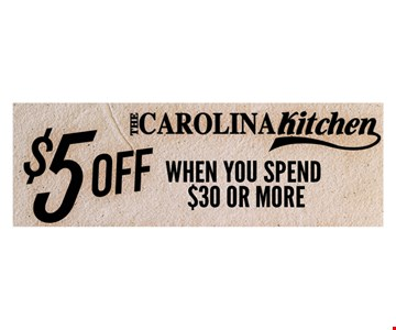 $5 off when you spend $30 or more. One coupon per person per visit. Not valid in conjunction with any other coupon or lunch menu specials. no cash value.