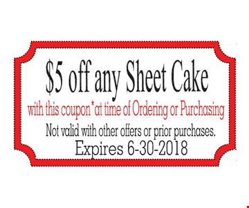 $5 Off Any Sheet Cake