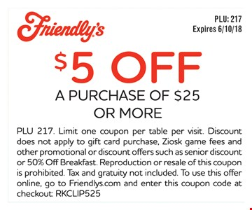 $5 off a purchase of $25 or more. Expires 6/10/18