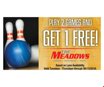 PLAY 2 GAMES AND GET 1 FREE! Based on lane availability . valid Tuesdays - Thursdays