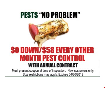 $0 down/$58 every other month pest control