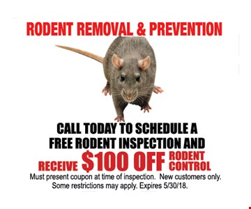 rodent removal & prevention - Receive $100 OFF Rodent control - New Customers only.