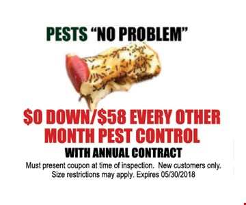 $0 Down/$58 Every other Month Pest Control with Annual Contract