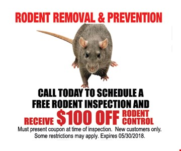 Call Today to Schedule a Free Rodent Inspection and Receive $100 Off Rodent Control.