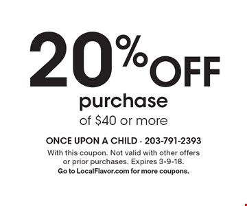 20% Off purchase of $40 or more. With this coupon. Not valid with other offers or prior purchases. Expires 3-9-18.Go to LocalFlavor.com for more coupons.