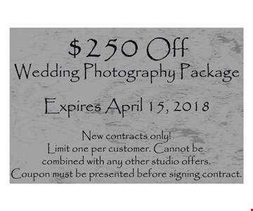 $250 off Wedding Photography package.