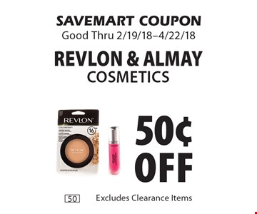 50¢ off Revlon & Almay Cosmetics. SAVEMART COUPON Good Thru 2/19/18-4/22/18