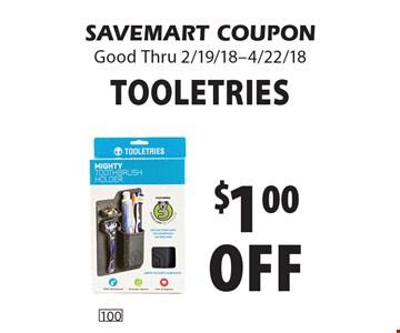 $1.00 off Tooletries. SAVEMART COUPON Good Thru 2/19/18-4/22/18