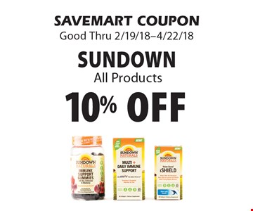10% off sundown All Products. SAVEMART COUPON Good Thru 2/19/18-4/22/18