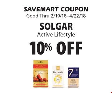 10% off Solgar Active Lifestyle. SAVEMART COUPON Good Thru 2/19/18-4/22/18