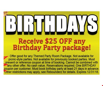 Receive $25 Off Any Birthday Party Package!