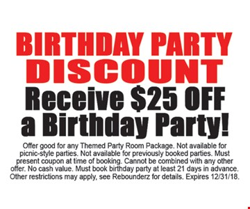 $25 off a birthday party.